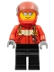 Minifig No: cty0678  Name: City Pilot Male, Red Fire Suit with Carabiner, Black Legs, Red Helmet, Silver Sunglasses