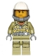 Minifig No: cty0682  Name: Volcano Explorer - Male Worker, Suit with Harness, Construction Helmet, Breathing Neck Gear with Yellow Airtanks, Trans-Black Visor, Sweat Drops