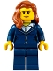 Minifig No: cty0691  Name: Businesswoman - Dark Blue Pants Suit, Peach Lips, Dark Orange Female Hair over Shoulder