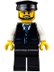 Minifig No: cty0692  Name: Limousine Driver - Black Vest with Blue Striped Tie, Black Legs, Black Hat, Black Beard