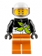 Minifig No: cty0698  Name: Xtreme Stunt Truck Driver, Male, Black Race Jacket, Orange Legs, White Standard Helmet