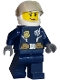 Minifig No: cty0702  Name: Police - City Leather Jacket with Gold Badge and Utility Belt, White Helmet, Trans-Black Visor, Peach Lips Smirk