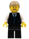Minifig No: cty0705  Name: Black Vest with Blue Striped Tie, Black Legs, White Arms, Dark Tan Male Hair, Dark Tan Beard