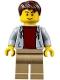 Minifig No: cty0707  Name: Light Bluish Gray Hoodie with Dark Red Shirt, Dark Tan Legs, Dark Brown Tousled Hair, Thin Grin