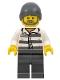 Minifig No: cty0715  Name: Police - Jail Prisoner 86753 Prison Stripes, Dark Bluish Gray Beanie