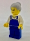 Minifig No: cty0723  Name: Farm Hand, Female, Overalls Blue over V-Neck Shirt, Light Bluish Gray Hair with Top Knot Bun (45022)