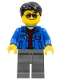 Minifig No: cty0747  Name: Blue Jacket over Dark Red V-Neck Sweater, Dark Bluish Gray Legs, Black Short Tousled Hair, Silver Sunglasses