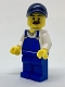 Minifig No: cty0765  Name: Beach Janitor - Blue Overalls and Dark Blue Cap