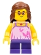 Minifig No: cty0767  Name: Beachgoer - Girl, Glasses, Pink Top, Purple Legs