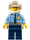 Minifig No: cty0772  Name: Police - City Officer Shirt with Dark Blue Tie and Gold Badge, Dark Tan Belt with Radio, Dark Blue Legs, White Helmet