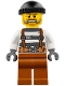 Minifig No: cty0773  Name: Police - Jail Prisoner Overalls 621 Prison Stripes, Dark Orange Legs, Black Knit Cap, Beard