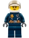 Minifig No: cty0774  Name: Police - City Helicopter Pilot Female, Leather Jacket with Gold Badge and Utility Belt, Dark Blue Legs, White Helmet, Peach Lips Slight Smile