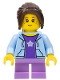 Minifig No: cty0782  Name: City Bus Passenger - Bright Light Blue Hoodie, Medium Lavender Short Legs, Dark Brown Hair Ponytail Long with Side Bangs, Freckles