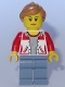 Minifig No: cty0783  Name: City Bus Passenger - Female Jacket Open with Number '8' on Back, Sand Blue Legs, Medium Nougat Hair Ponytail, Peach Lips