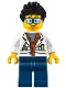 Minifig No: cty0788  Name: City Jungle Scientist - White Lab Coat with Test Tubes, Dark Blue Legs, Black Ruffled Hair