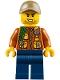 Minifig No: cty0792  Name: City Jungle Explorer - Dark Orange Jacket with Pouches, Dark Blue Legs, Dark Tan Cap with Hole, Stubble