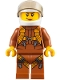 Minifig No: cty0794  Name: City Jungle Helicopter Pilot Female - Dark Orange Jumpsuit, Dark Orange Legs with Straps, White Helmet, Trans-Black Visor, Peach Lips