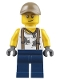 Minifig No: cty0802  Name: City Jungle Engineer - White Shirt with Suspenders and Dirt Stains, Dark Blue Legs, Dark Tan Cap with Hole, Smirk