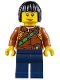 Minifig No: cty0806  Name: City Jungle Explorer Female - Dark Orange Shirt with Green Strap, Dark Blue Legs, Black Bob Cut Hair, Peach Lips Lopsided Smile