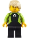 Minifig No: cty0811  Name: Coast Guard City - Surfer in Black and Lime Wetsuit, Tan Wavy Hair