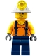 Minifig No: cty0847  Name: Miner - Shirt with Straps, Dark Blue Legs, Mining Helmet, Sweat Drops