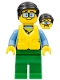 Minifig No: cty0860  Name: Coast Guard City - Tourist, Blue Tinted Glasses, Life Jacket, Green Legs
