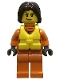 Minifig No: cty0863  Name: Coast Guard City - Female Rescuer, Dark Brown Hair with Life Jacket