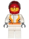 Minifig No: cty0874  Name: Race Car Driver, White Race Suit with Orange Stripes and Checkered Pattern, Red Helmet, Crooked Smile with Brown Dimple