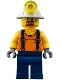 Minifig No: cty0884  Name: Miner - Shirt with Straps, Dark Blue Legs, Mining Helmet, Goatee and Moustache