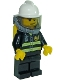 Minifig No: cty0891  Name: Fire - Reflective Stripes, Black Legs, White Fire Helmet, Smirk and Stubble Beard, Breathing Neck Gear with Yellow Airtanks