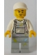 Minifig No: cty0897  Name: Light Bluish Gray Overalls with Paint Splatters, Light Bluish Gray Legs, White Short Bill Cap, Stubble