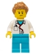 Minifig No: cty0899  Name: Doctor - Stethoscope, Medium Azure Legs, Medium Dark Flesh Spiked Hair