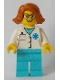Minifig No: cty0900  Name: Doctor - EMT Star of Life, Medium Azure Legs, Dark Orange Female Hair Short Swept Sideways, Glasses