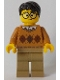 Minifig No: cty0902  Name: Medium Dark Flesh Argyle Sweater, Dark Tan Legs, Black Hair, Large Round Glasses