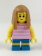Minifig No: cty0907  Name: Hiker, Girl Child, Pink Kitty Shirt, Medium Dark Flesh Long Straight Hair with Side Part