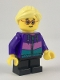 Minifig No: cty0908  Name: Hiker, Girl Child, Dark Purple Jacket, Glasses, Bright Light Yellow Ponytail and Swept Sideways Fringe