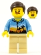 Minifig No: cty0909  Name: Hiker, Male Parent, Palm Tree Shirt, Moustache, Dark Brown Smooth Hair