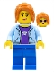 Minifig No: cty0911  Name: Hiker, Female, Bright Light Blue Hoodie over Dark Purple Star Shirt, Dark Orange Ponytail Long with Side Bangs