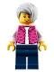 Minifig No: cty0912  Name: Camper, Female, Dark Pink Jacket, Dark Blue Legs, Light Bluish Gray Female Hair Short Tousled