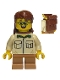 Minifig No: cty0915  Name: Camper, Male Child, Tan Shirt, Medium Dark Flesh Short Legs, Glasses, Backpack