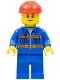 Minifig No: cty0925  Name: Blue Jacket with Pockets and Orange Stripes, Blue Legs, Red Construction Helmet, Thin Grin