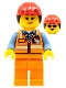 Minifig No: cty0950  Name: Airport Luggage Handler, Female, Red Helmet with Ponytail, Orange Reflective Uniform