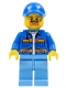 Minifig No: cty0956  Name: Garbage Worker, Male, Blue Jacket with Diagonal Lower Pockets and Orange Stripes, Light Blue Legs, Blue Cap