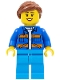 Minifig No: cty0957  Name: Garbage Worker, Female, Blue Jacket with Diagonal Lower Pockets and Orange Stripes, Dark Azure Legs, Reddish Brown Ponytail