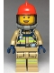 Minifig No: cty0960  Name: Fire - Reflective Stripes, Dark Tan Suit, Red Fire Helmet, Open Mouth, Breathing Neck Gear with Blue Airtanks