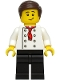 Minifig No: cty0964a  Name: Burger Chef - White Torso with 8 Buttons, No Wrinkles Front or Back, Black Legs, Dark Brown Hair