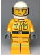 Minifig No: cty0968  Name: Fire - Reflective Stripes, Bright Light Orange Suit, White Helmet, Scowl