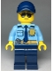 Minifig No: cty0981  Name: Police - City Officer Shirt with Dark Blue Tie and Gold Badge, Dark Tan Belt with Radio, Dark Blue Legs, Blue Cap, Sunglasses