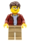 Minifig No: cty0985  Name: Truck Driver - Dark Brown Hair, Sunglasses, Dark Red Bomber Jacket, Dark Tan Legs