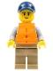 Minifig No: cty0987  Name: Kayaker, Dark Blue Cap, Orange 2 Strap Life Jacket